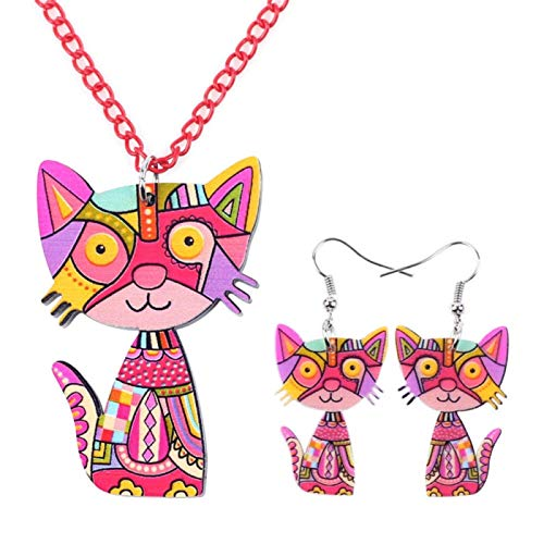 Pendientes del Collar del Gato Acrílico Sistemas De La Joyería Joyería Gargantilla Collar De Moda For Mujeres De La Muchacha Joyas LIYDEG (Color : Red)