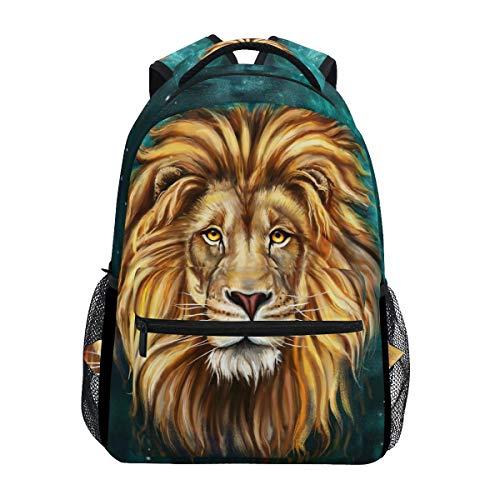 ZZKKO - Zaini da scuola in bianco e nero con leone animale, per viaggi, escursionismo, campeggio, zaino