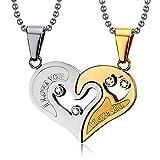 BOBIJOO Jewelry - Collier Pendentif Coeur Séparable Couple Doré à l'or Fin I Love...