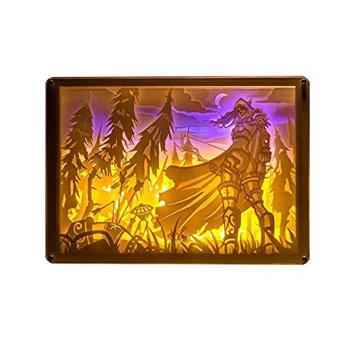 no brand World of Warcraft Windrunner Sylvanas stéréo léger et Papier à découper Le Cadeau du Jour de la Lampe Night Light Anniversaire Saint-Valentin (Color : 1, Size : 25.5 * 18cm)