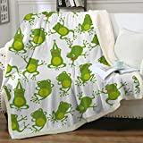 Sleepwish Aerobics Frog Sherpa Fleece Blanket for Kids Teens Girls Green Cartoon Cute Animals Print Soft Cozy Fluffy Warm and Fuzzy Blankets for Bed or Couch Throw(50'x60')