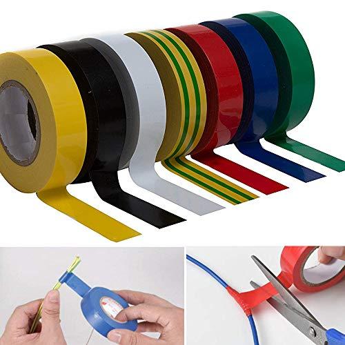 Nuluxi Elektrisches Isolierband Set PVC Dichtungsband Isolierband Elektriker Isolierbänder UV Beständig und Flammhemmend Industriebedarf für den Einsatz bei elektrischen Leitungen(1 Stück pro Farbe)