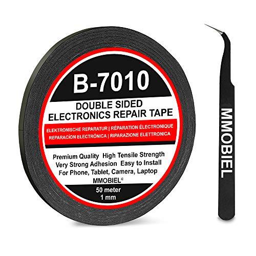 MMOBIEL 1 mm doppelseitiges Klebeband stark klebend Tape 50 m Rolle (Schwarz) für Smartphone Tablet Reparatur