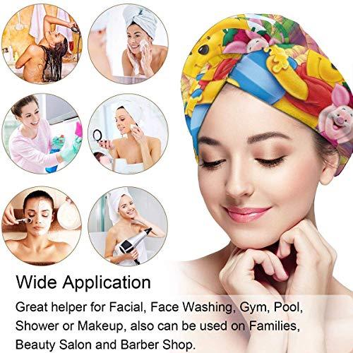 XBFHG Cheveux Serviette Wrap Turban Winnie Pooh Miel Microfibre Séchage Bain Douche Pomme De Douche Serviette avec Bouton, Cheveux Secs Chapeau