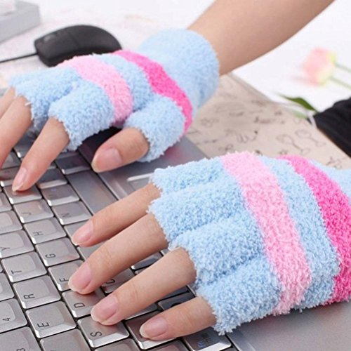 USB Heating Winter Gloves, Iusun Women Hand Warm Gloves Heated Fingerless Warmer Mitten (Blue)