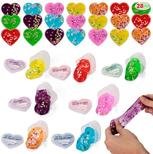 28 Valentines Day Clear Slime Hearts for Kids Valentine Classroom Exchange Valentine Party Favors product image