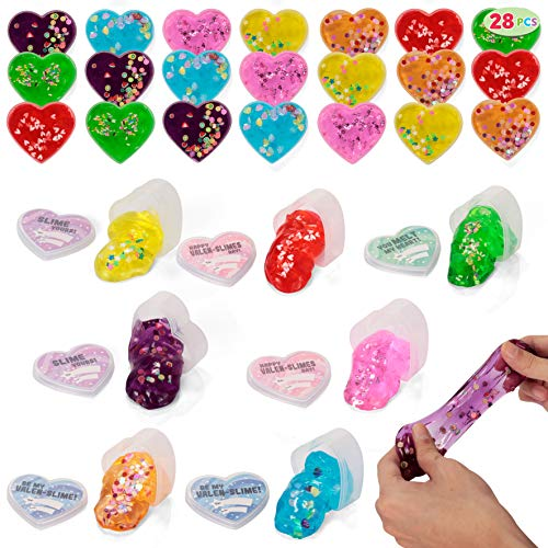 28 Valentines Day Clear Slime Hearts for Kids Valentine Classroom Exchange, Valentine Party Favors, Gift Exchange, Game Prizes