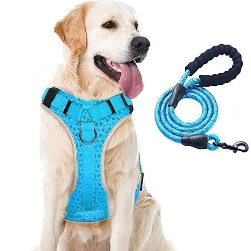 Supet Hundegeschirr Anti Zug Gepolsterte Brustgeschirr mit Reflektorstreifen Weich Einstellbar Geschirr für Hunde Atmungsaktiv Dog Harness für Große Mittlere und Kleine Hunde
