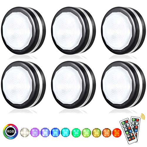 Bjour Puck Light Wireless Remote Cabinet Lights Black RGB Under Counter Lighting with Remote Control LED Stick On Lights Battery Operated Closets Light, 6 Pack