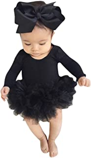Infant Newborn Baby Girl Spring Outfit Long Sleeve Cotton Romper Lace Tutu Skirt with Headband 2pc Summer Clothes