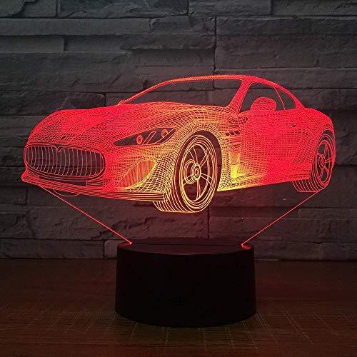 LONGJUAN-C Coches de la Manera 3D de Navidad luz de la Noche s Home, Dormitorio de los niños de Color Siete Luces Decorativas Decoración de la lámpara 3D, Regalo de Año Nuevo LED