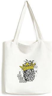 DIYthinkerPineapple Line Drawing Fruit King Tote Canvas Bag Shopping Satchel Casual Handbag