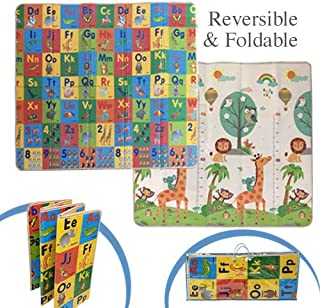 FUN n' SAFE (7120) Baby Foam Play Mat - Reversible, Foldable & Innovative Cushioning, ABC/123 and Animals Theme