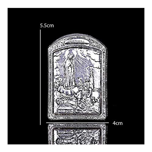 YUNGYE Religiöse Jungfrau Fatima Madonna Statue Kreuz Dekoration Statue Fatima Madonna Statue 5.5X4CM Religiöses Geschenk (Metal Color : 1)