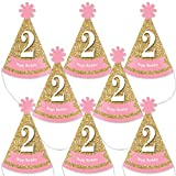 Big Dot of Happiness 2nd Birthday Girl - Two Much Fun - Mini Cone Second Birthday Party Hats - Small Little Party Hats - Set of 8