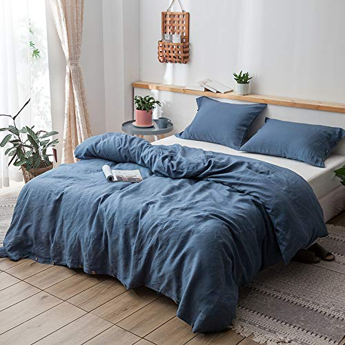 """Simple&Opulence 100% Linen Duvet Cover Set, 3 Piece Belgian Flax Breathable Bedding, Queen Size 88""""x92""""(1 Comforter Cover+2 Pillowshams) with Coconut Button Closure-Classic Blue"""