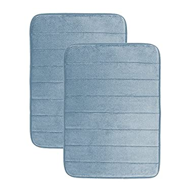 Luxor Linens - Memory Foam Bath Mat (17 x 25 inch) - Giovanni Line - Luxurious , Super Soft & Absorbent with Anti-Slip Backing - Available in a Wide Variety of Colors (2-Piece Set, Sky)