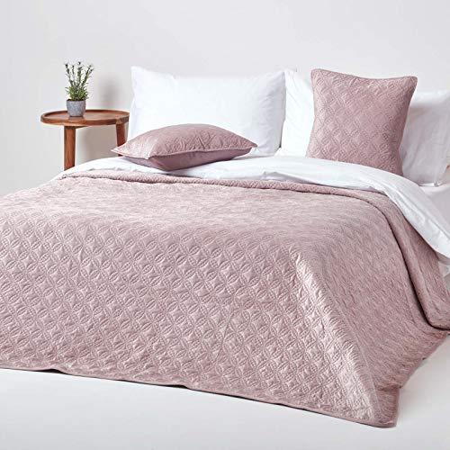 Homescapes Gesteppte Samt-Tagesdecke, Altrosa, klassischer Bettüberwurf mit geometrischem Kreis-Muster, Ewigkeitsringe, rosa, 200 x 200 cm