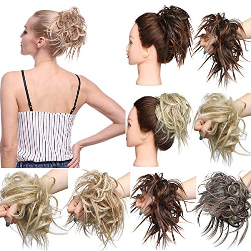 Ombre Extensions De Cheveux Chignons Postiche Cheveux En Caoutchouc Chouchou Chouchous Chignons VOLUMINEUX Droite Désordre Chignon Marron foncé