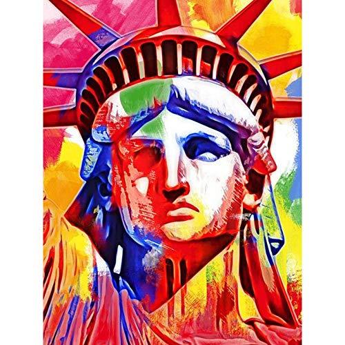 ANnjab 5D Diamond Painting United Statue Of Liberty Watercolor Handmade DIY Diamond Painting Embroidery Mosaic Cross Stitch Square 30x40cm