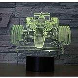 OUUED 3D LED Racing Front Night Light con 7 colores de luz para la decoración del hogar Increíble visualización de la lámpara Super Ilusión óptica, Bonito regalo de cumpleaños