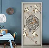 QQFENG Türtapete Wandbilder Blumen- Und Vogelarbeitsraum