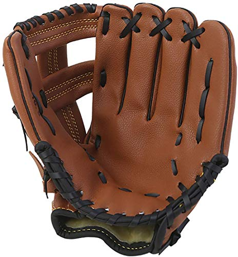 LANSONTECH Baseball-Handschuhe, Softball-Handschuhe, Sport-Batting-Handschuhe mit Baseball-PU-Leder, linke Hand, Fänger-Handschuh für Kinder, Jugendliche und Erwachsene (braun, 10,5)