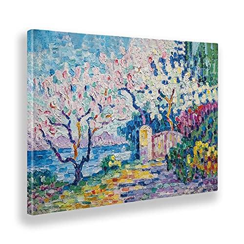 Giallobus - Quadro - Paul Signac - Mandorli fioriti - Tela Canvas - 140x100 - Pronto da Appendere - Quadri Moderni per la casa