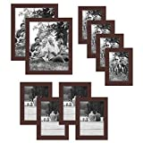 Americanflat 10 Piece Mahogany Gallery Wall Picture Frame Set in Sizes 8x10, 5x7, and 4x6 - Composite Wood with Shatter Resistant Glass - Horizontal and Vertical Formats for Wall and Tabletop