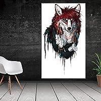 Banksy Poster 1 Pieza Lienzo Pintura Lobo Abstracto Animal Pintura al óleo HD Carteles e Impresiones Lienzo Impreso póster para Sala de Estar y hogar sin Marco 50x100cm