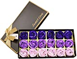 Jabón de flor de rosa de 18 piezas - Jabón de flor de rosa con aroma Flora - Jabón de hierbas con aceites esenciales, regalo para cumpleaños/aniversario/boda/caja de San Valentín (púrpura)