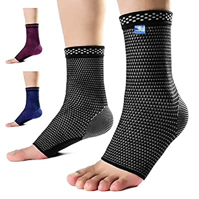 Medical Grade 20-30 mmHg Ankle compression Sleeve(Pair) for Achilles Tendonitis,Plantar Fasciitis and Joint Pain.Ankle Support Protection Against and Recovery sprains (black-gray, Small(9.5-11.5 Inch)