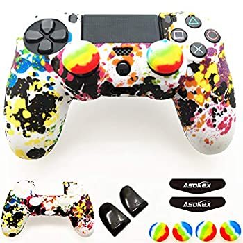 Silicone Skin Cover for Ps4 Controller  1pc Anti-Slip Case 1 Pair L2 R2 Trigger Extender 4pcs Thumb Grips,4pcs LED Light Bar Decal  Protector for DualShock PS4/ Slim/Pro Controller  Graffiti