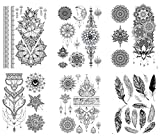 6 hojas de tatuajes con plumas de mandala, tatuajes a mano, set Kira 6