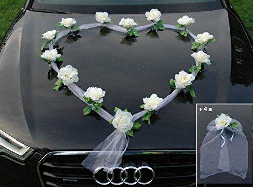 Autoschmuck Organza Herz Auto Schmuck Braut Paar Rose Deko Dekoration Hochzeit Car Auto Wedding Deko Girlande PKW (Ecru/Weiß)