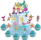 35 piezas de adorno para tarta de sirena, miniaturas de figuritas de sirena, adorno para tarta con purpurina fiesta de mar, decoración del mundo submarino de sirena para fiesta cumpleaños infantil