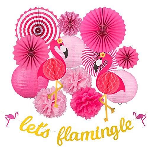 Whaline 15 Stück Flamingo Party Deko,Rosa Papierfächer Pom Poms Papierblumen Papierlaternen Flamingo Banner, Hawai Sommer Party Dekoration für Geburtstag Hochzeit Foto Hintergrund