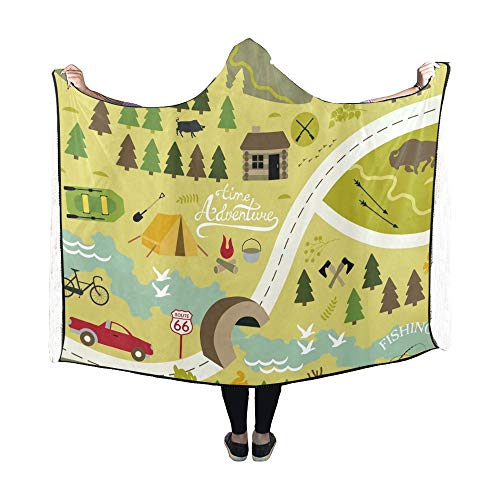 Zemivs Mit Kapuze Decke Set Icons Camping Outdoor-Aktivitäten Decke 60 x 50 Zoll Comfotable Hooded Throw Wrap