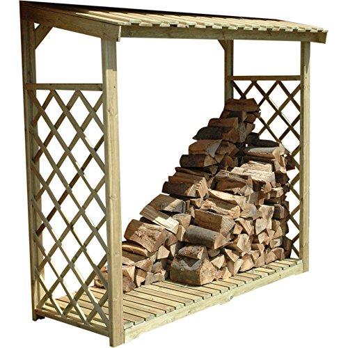 Kaminholzregal ELBE 2 mit Rankgitter imprägniert 2,2 m³ Kaminholzspeicher 210 x 80 x 207cm Holzlager Kaminholzschrank Holzunterstand