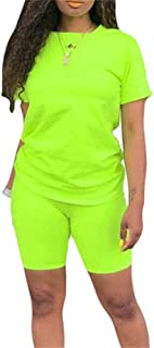 Lucuna Women Summer Rainbow Gradient Floral Print 2 Piece Clubwear Loose Pullover T Shirt High Waist Skinny Shorts Tracksuit
