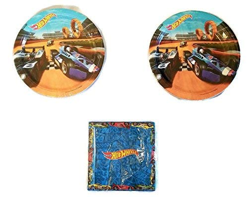 Hot Wheels Party Bundle 9' Plates (16) Napkins (16)