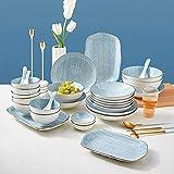 Servizio da Tavola in Ceramica, Servizio da Tavola Azzurro da 50 Pezzi - Set di Ciotole E Piatti da Bistecca in Porcellana in Stile Giapponese per Riunioni di Famiglia E Ristorante