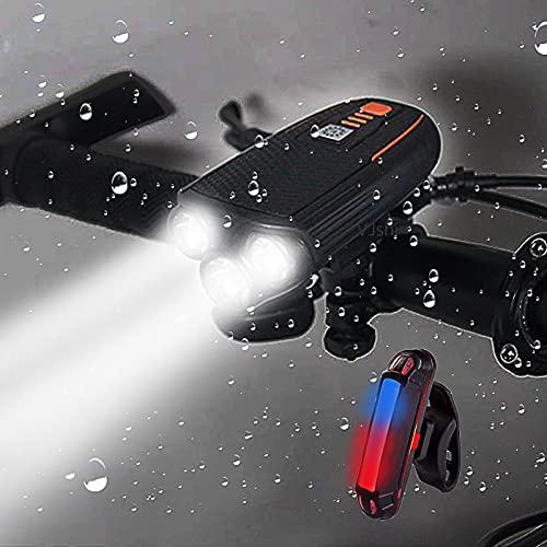TONGHUA Juego de Luces de Bicicleta Recargables por USB, lámpara de Bicicleta de 1500 lúmenes, Sensor de luz Inteligente táctil, Accesorios de Bicicleta Impermeables para la conducción Nocturna