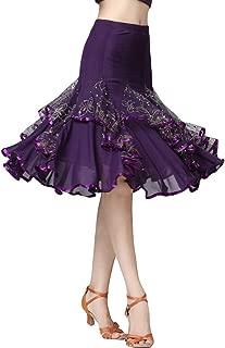Damas De Moda Latina Falda Salón Baile Big Swing Lentejuelas Vestido De Fiesta Baile Moderno Falda
