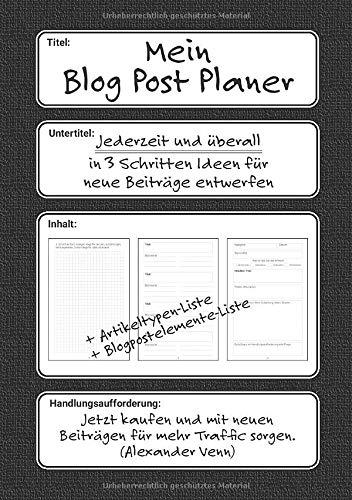 Mein Blog Post Planer: Jederzeit und überall in 3 Schritten Ideen für neue Beiträge entwerfen