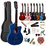 アコースティックギター 初心者18点セット 38インチ 入門練習ギター 学生 子供 大人用 初級ギターセット 初心者入門用 アコギ クラシックギター 弦 チューナー ギタースタンド・ソフトケース・簡易教則(日本語)付き