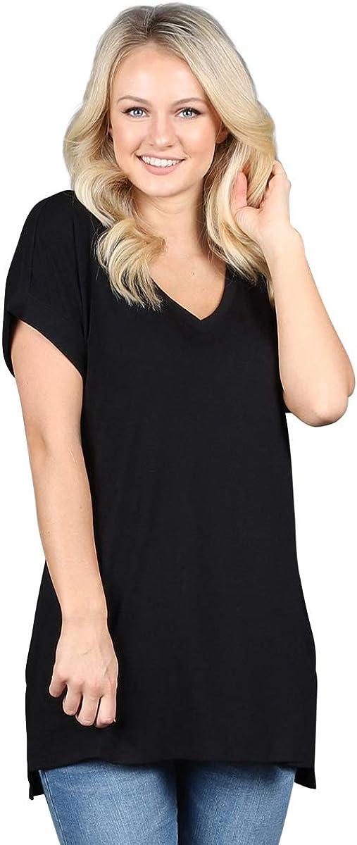 Plus Size Rolled Sleeve V-Neck Tunic