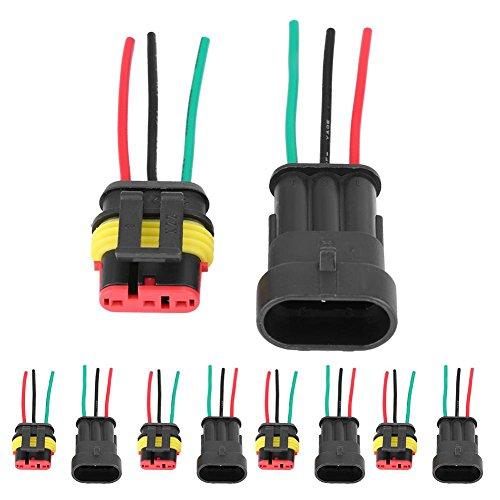 KIMISS Conector eléctrico Impermeable,5 par de 3-Pins Enchufe Conector Auto Sellado Coche...