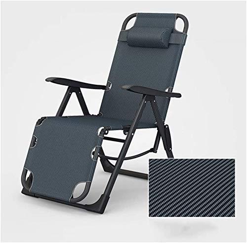 WJXBoos Sillones Plegables para sillas de Playa para Personas Pesadas Sillas de Camping al Aire Libre en la Playa Sillas portátiles con Soporte para el Cuello 200 kg (Color: Rayas Azules)