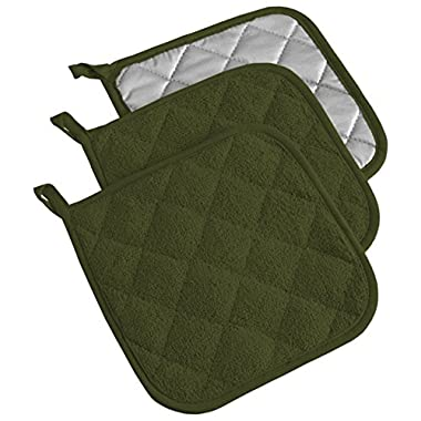 DII Cotton Terry Pot Holders, 7x7   Set of 3, Heat Resistant and Machine Washable Hot Pads for Kitchen Cooking and Baking-Sage